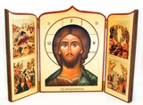 Christ Almighty with Feast Days, Hand Enhanced Serigraph Icon Triptych