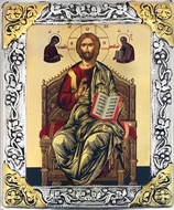 Christ Enthroned,  Serigraph Icon in  Silver / Gold Plated Oklad