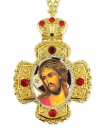 Christ Extreme Humility,  Faberge Style Framed Cross-Shaped Icon Pendant