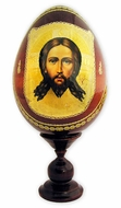"Christ  ""Not Made by Hands"" Decoupage Wood Icon Egg"