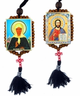 Christ The Teacher and St.Matrona, Reversible Beaded Icons on Rope