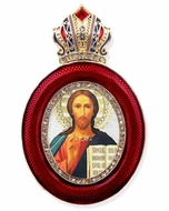 Christ The Teacher,  Egg Shaped Framed Ornament Icon
