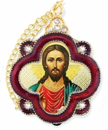 Christ The Teacher, Enamel  Icon Framed Pendant