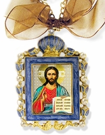Christ The Teacher, Faberge Style Framed Icon Ornament, Blue
