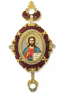 Christ The Teacher,  Enameled Jeweled Icon Ornament, Red
