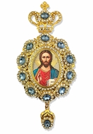 Christ The Teacher,   Enameled Jeweled Icon Ornament / Blue Crystals