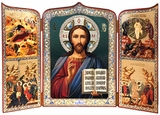 Christ The Teacher, Foldable Orthodox Triptych