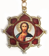 Christ The Teacher, Framed Enamel Icon Ornament, Red