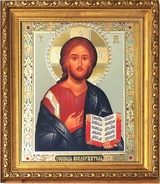 Christ the Teacher, Framed Orthodox Icon with Crystals & Glass