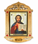 Christ The Teacher  Icon  in Wooden Shrine