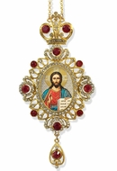 Christ The Teacher,   Jeweled Icon Ornament / Red Crystals