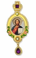 Christ The Teacher,  Jeweled Icon Ornament, Yellow Frame with Purple Crystals