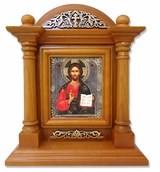 Christ The Teacher, Kiot  Icon  in Wood Shrine with Glass