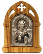 Christ the Teacher, Silver Icon in Olive Wood Arched  Frame