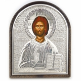 Christ The Teacher, Orthodox Icon in Silver Oklad  with Stand