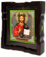 Christ The Teacher, Orthodox Icon in Wood Kiot with Glazed Door