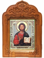 Christ The Pantocrator, Orthodox Icon  in Wooden Shrine