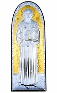 Christ The Teacher, Silver / Gold Plated, Wooden Base Icon with Stand
