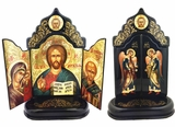 Christ The Teacher, Virgin Of Kazan and  St Nicholas, Hand Painted  Foldable Triptych