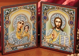 Christ the Teacher & Virgin of Kazan Diptych, Orthodox Icon