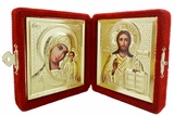 Christ the Teacher / Virgin of Kazan,  Icon Diptych in Velvet Case, Small