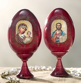 Christ the Teacher &  Virgin of Kazan, Matching Set of Wooden Eggs with Stand