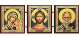 Christ The Teacher, Virgin of Kazan & Saint Nicholas, Foldable Triptych Icon