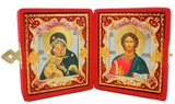 Christ the Teacher / Virgin of Vladimir, Enameled Icons Diptych
