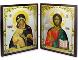 Christ The Teacher & Virgin of Vladimir  Orthodox Diptych Icon
