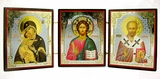 Christ, Virgin of Vladimir & Saint Nicholas Triptych, Orthodox Icon