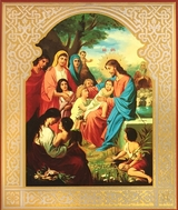 Christ Blessing The Children, Orthodox Gold Foil Icon
