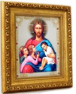 Christ With Children, Gold Framed Orthodox Christian Icon with Glass