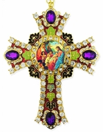 Christ With Children Icon in  Jeweled Wall Cross