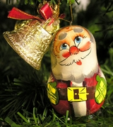Christmas Wooden Ornament: Santa with Bell