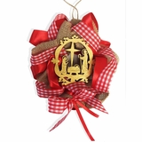 Christmas Ornament Wreath with Wooden Nativity Scene