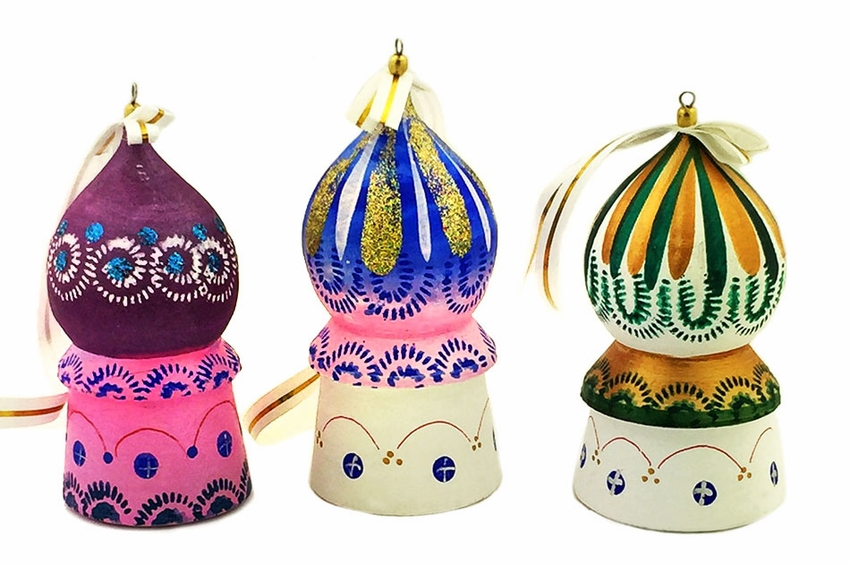 church domes wooden christmas ornaments set of 3 loading zoom - Wooden Christmas Ornaments
