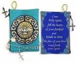 """Come Holy Spirit"" Reversible Tapestry Pouch, Blue"