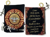 """Come Holy Spirit"" Reversible Tapestry Pouch, Black/Red"