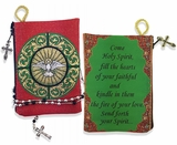 """Come Holy Spirit"" Reversible Tapestry Pouch, Red/Green"