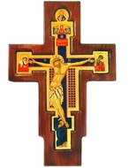Crucifix / Saint Damiano, Serigraph Icons on Wooden Cross