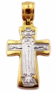Crucifix / Virgin Mary, Engraved Sterling Silver Gold Gilded   Cross