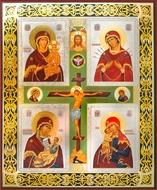 Crucifix and 4 Theotokos Icons, Orthodox Christian Icon