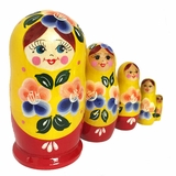 "Nesting Matreshka Wooden Dolls ""Cute Face"", Hand Painted"