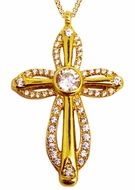 CZ Diamond Cut Cross Pendant,  Sterling Silver 925, Gold Plate