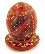 Dark Red Pysanka Easter Wooden Egg on Plate, 2 3/8""