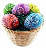 Easter  5 Colorful Pysanky Wooden Eggs in Wooden Basket
