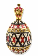 "Easter ""Pisanka"" Style Egg Pendant, Silver 925, Gold Plated, Red Enamel"