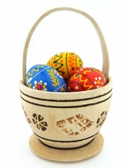 3 Mini Pysanky Wooden Eggs in Basket