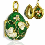 Egg Locket Pendant  with Flower, Sterling Silver, Gold Plated