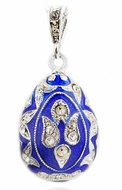 Egg Pendant, Faberge Style,  Sterling Silver 925